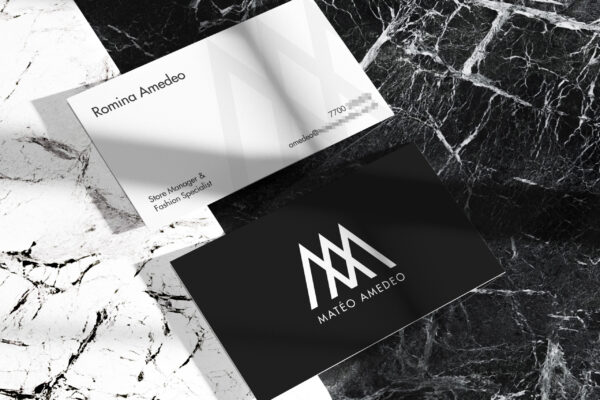 Two Business Card Mockup on Marble Stone